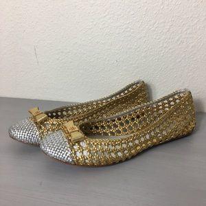 Tory Burch Woven Ballerina Flat Gold/Silver Sz 10